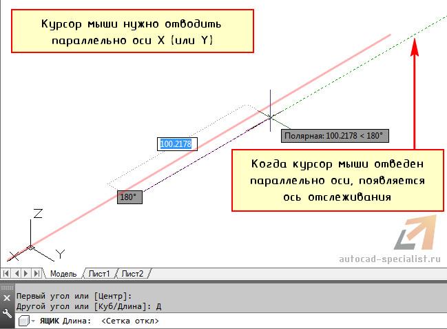 Длина прямоугольника в AutoCAD