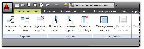 Работа с таблицами AutoCAD