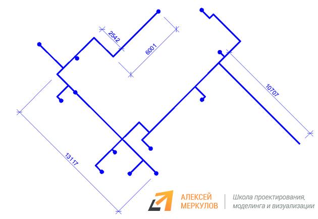 Рис. 2 – Пошаговый пример, как рисовать аксонометрию в AutoCAD